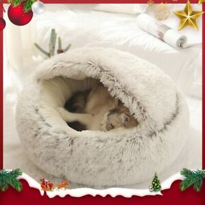 Pet Dog Cat Bed Round House Puppy Cat Fluffy Warm Soft Sleep Plush Bed Nest
