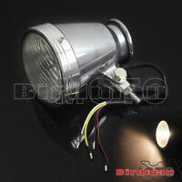 Motorcycle Chrome 12V Visor Headlight Lamp For Bobber Chopper Custom Cafe Racer