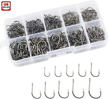500pcs Fish Hooks 10 Sizes Fishing Black Silver Sharpened With Box Quality kit
