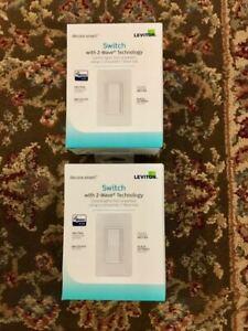 Two (2) Leviton Decora DZ15S-2RW Smart Switch with Z-Wave Technology - White NIB