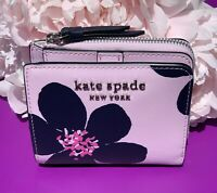NWT Kate Spade Cameron Grand Flora small-zip bifold wallet leather pink flower