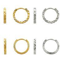 Small Hoop Earrings 14K Solid Yellow White Gold Women DC Fashion Huggie Earrings