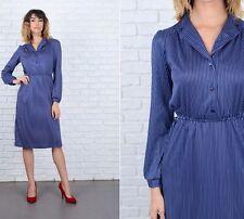 Vintage 80s Navy Blue Dress retro Pinstripe Striped White Small S