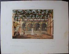 BETTINGER : ALGER, interieur de maison Mauresque. Lithographie originale1850