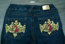 RARE Baby Phat Jeans Womens 5 Estilo Style Embroidered Gold Pockets Cat A2