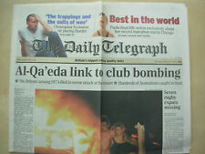 VINTAGE NEWSPAPER DAILY TELEGRAPH OCTOBER 14th 2002 BALI BOMB TERROR ATTACK