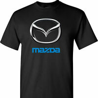 Mazda Chrome Logo on a Black T Shirt