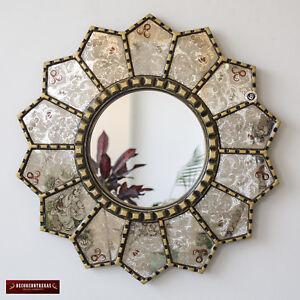 """Handmade eglomise Round wall Mirror 23.6"""", Peruvian Gold Framed Round Mirror"""