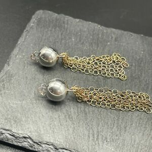 925 Sterling Silver Clip On Earrings Modernist Ball with Copper Tone Chains