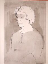 Betty Salpeter Woman Sketch W/C & Ink Painting-1964-August Mosca