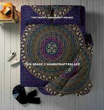 Indian Mandala Queen Cotton Blue Duvet Cover With Bed Sheet & 2 PC Pillow Decor