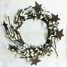 "CANDLE RING / WREATH - 4"" INSIDE - PIP BERRY w/RUSTY TIN STARS - IVORY / CREAM"