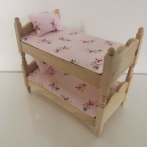 Handmade 1/12th scale Dolls House Bunk Bedding set with 2 throws and 2 pillows