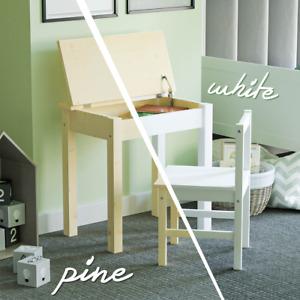 Aries Kids Table Desk Chair Set Workstation Lift Lid Storage Solid Pine Wood