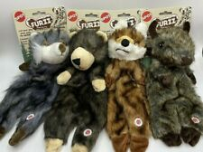 Set Of 4 Furzz 13in Plush Dog Toys Squeaker Realistic Fur Stuffing Free Body New