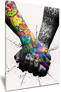 Soul Mates Graffiti Art HD Framed Canvas Wall Art Picture Print