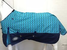 AXIOM 1200D RIPSTOP BLUE CHECK/NAVY 300gm PADDOCK HORSE RUG - 6' 3