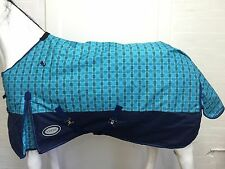 AXIOM 1200D RIPSTOP BLUE CHECK/NAVY 300gm PADDOCK HORSE RUG - 6' 0