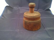 Primitive Antique Butter Mold Fern Wheat Sheath Plunger Style Wood NICE