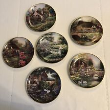 Franklin Mint 6 Cottage Plates Collection No Chips No Cracks Great Condition