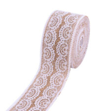 5M Jute Burlap Natural Hessian Ribbon With Lace Trim Wedding Rustic Vintage 5cm