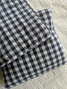 Pottery Barn Kids Gingham Check TWIN Duvet Cover 1 Sham Cotton Organic Navy Blue