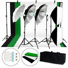 New Photo Studio Photography 92.90 Kit 4 Light Bulb Umbrella Muslin 3 Backdrop S