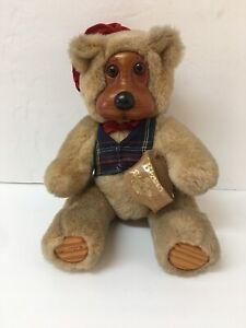"Robert Raikes Woodland Mill Plush & Wood Teddy Bear 12"" Papa Bear Signed On Foot"