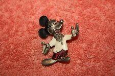 40's 50's Walt Disney Prod. Mickey Mouse Pin Brooch Enamel Painted Pewter Metal