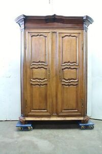 Large Antique French Country Normandy Oak 2 Door Armoire Wardrobe