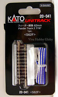 "Kato 20041 N Gauge Unitrack 2-7/16"" (62mm) Straight Feeder Track 1pc. S62F. New"