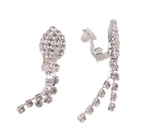 Silver Diamante Long Dangle Tassel Clip On Earrings Crystal Non Pierce UK E154