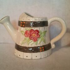 "Watering Can Looks Like Barrell Red Flower w/Grn Leaves on Front 6"" Tall Unmrkd"