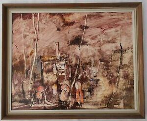 Original Framed Polymer Painting - Abstract Cityscape by John Waterhouse