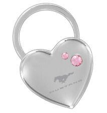 Mustang Heart Shaped Key Chain w/Pink Swarovski Crystals - Free USA Shipping!