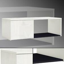 Couchtisch #644 -- 120x50cm weiß hochglanz schwarz mit Tür TV Tisch Bank Schrank