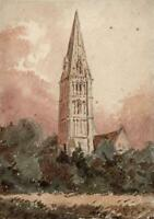 EUROPEAN CATHEDRAL IN LANDSCAPE Small Watercolour Painting 19TH CENTURY