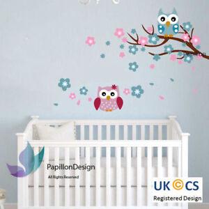 Blue/Pink Cherry Tree Flower Owls  nursery Kid Baby Girl Boy wall Decal sticker