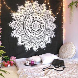 Oussum Mandala Tapestry Black Wall Hanging Home Decor Bohemian Queen Bedspread