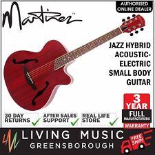 NEW Martinez Jazz Hybrid Acoustic-Electric Small Body Cutaway Guitar (Red)