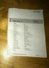 Ts 400, Ts400 Stihl Cut Off Saw Concrete Parts List Diagram Manual