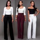 New Fashion Women High Waist Flare Wide Leg Long Vintage Pants Palazzo Trousers