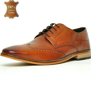 Ikon Mens Leather Formal Office Smart London Derby Lace Tan Brogue Shoes Size