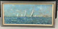Wilfred S Goldman Oil Board Ship Coastal Maritime Painting Long