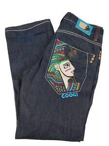 Coogi Embroidered Egyptian Pharaoh Eagle Cobra Baggy Jeans Streetwear 34x34