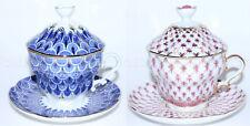 RUSSIAN Imperial Lomonosov Porcelain 2 Lidded Cups & Saucer Net Blues & Scale