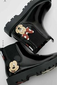 BNWT Zara MICKEY/ MINNIE MOUSE DISNEY FAUX PATENT FINISH ANKLE BOOTS UK 3 EUR 35