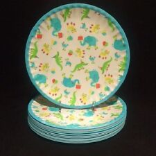 Kensie Home Melamine Kids Birthday Elephants & Alligators S/12 Dessert Plates