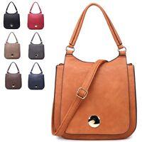 Ladies Stylish Faux Leather Work Handbag Plain Shoulder Bag Grab Bag 2907