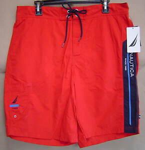 Nautica Mens Blue Colorblock Above Knee Beachwear Board Shorts L BHFO 8366